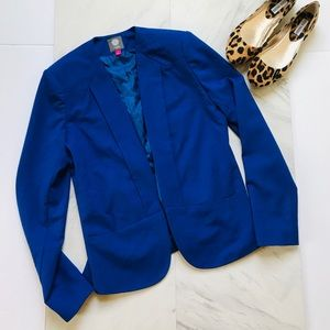 Vince Camuto 4 Collarless Optic Blue Blazer Jacket